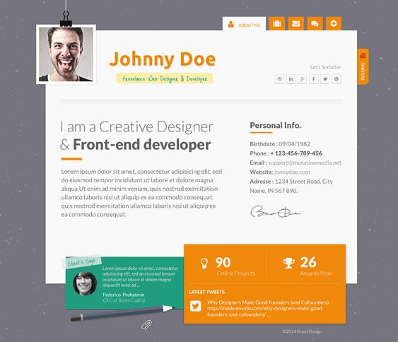 16 best 16 More of the Best vCard, CV,  Resume WordPress Themes - resume wordpress theme