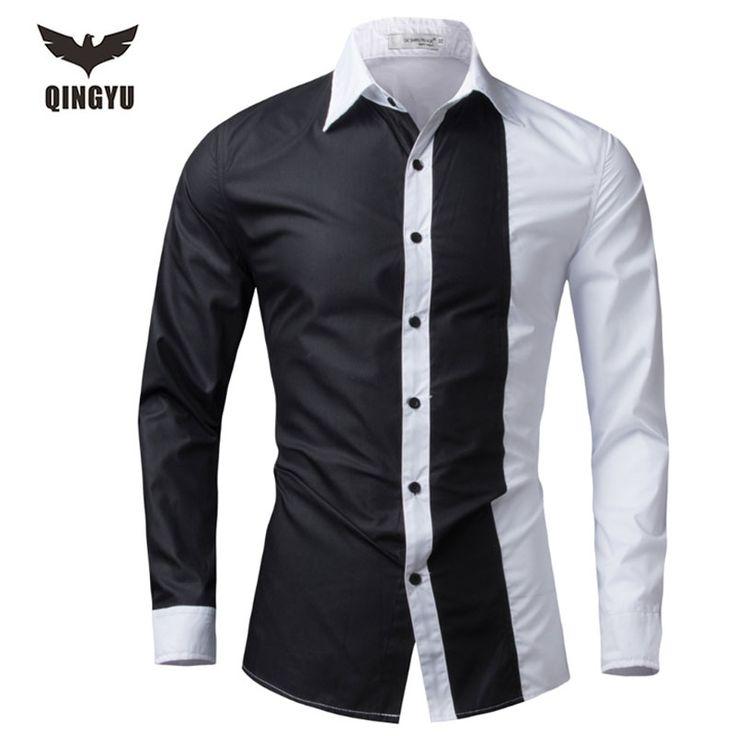 Men Shirt Long Sleeve 2016 Brand Shirts Men Casual Male Slim Fit Fashion Spell Color Chemise Mens Camisas Dress Shirts 4XL WEYOR