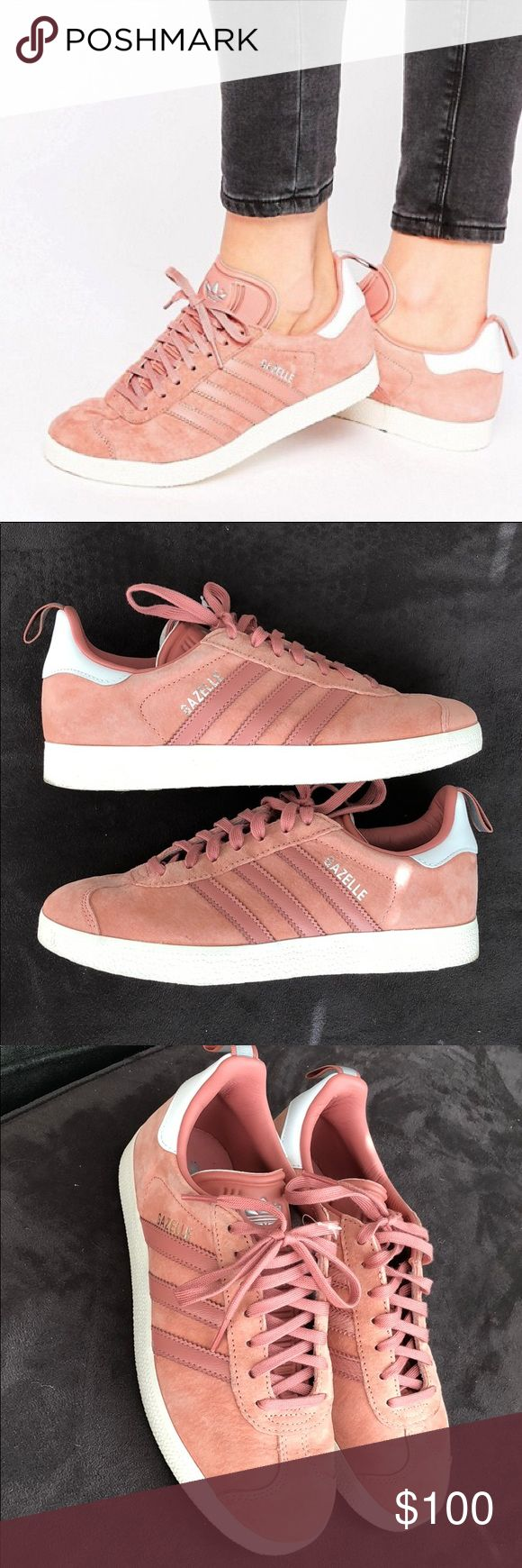 Adidas Originals Gazelle - dusty pink Ordered off ASOS for $120, no longer available. They fit like other gazelle styles which run a little big. They are a 6.5 but I would say it would fit a 7. Only worn once for a short period of time, as you can see from the bottom they are barely worn! They are a little big on be so I'm selling bc I missed the deadline to return adidas Shoes Sneakers