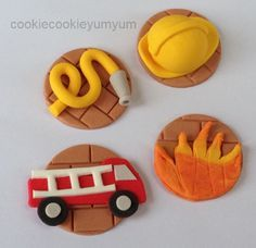 12 edible ASSORTED FIRE THEME fireman truck cupcake topper decoration party wedding anniversary birthday cookie party sam cake firemen dept by cookiecookieyumyum on Etsy
