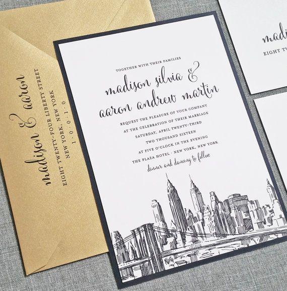 madison new york skyline wedding invitation sample boston chicago dallas los angeles new york san francisco