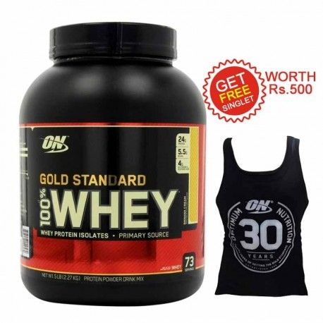 Optimum Nutrition (ON) Gold Standard 100% Whey Protein, Banana Cream 5 lb