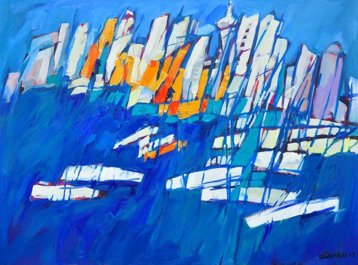 船影.城影 油画 166x120cm Auckland City View Oil on canvas 2012