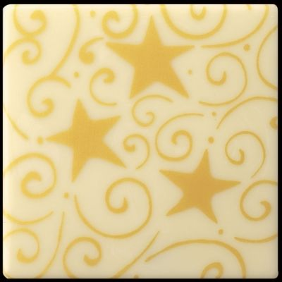 "120 White chocolate decorations for yule log , ""ƒtoiles"", square 7 cm"