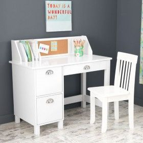 Study Desk with Drawers - White ♥ Discover the season's newest designs and inspirations by Rosenberry. | Visit us at http://kidsbedroomideas.eu/ #furnituredesign #kidbedroom #kidsroom #kidfriendly #bedroomdecor