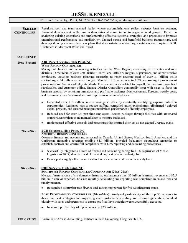 Sample Resume For Controller Http Www Resumecareer