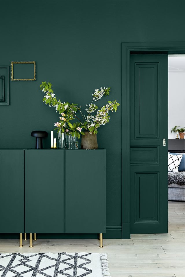 Stunning dark green accent wall w/ furniture + door painted the same shade - great for displaying lovely decor!