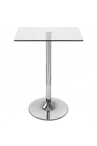 Vetro Square Glass Bar Table