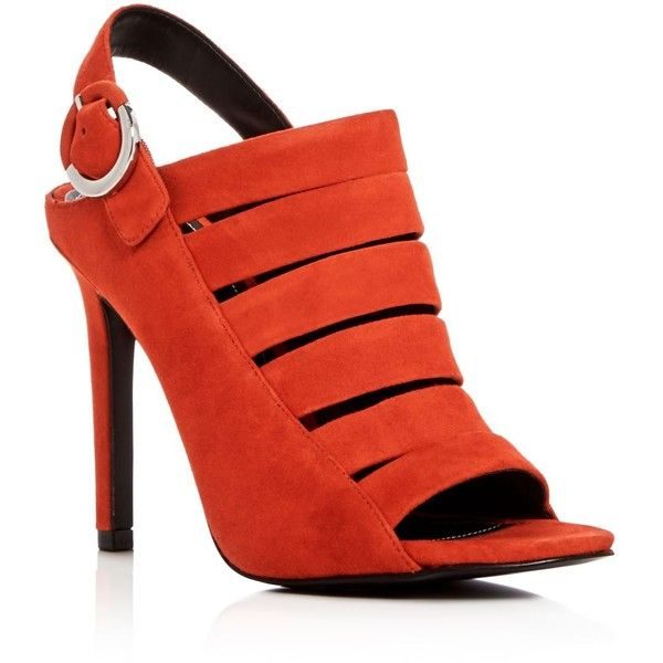 Kendall and Kylie Mia Strappy High Heel Sandals (635 RON) ❤ liked on Polyvore featuring shoes, sandals, orange, strappy heeled sandals, orange shoes, strap sandals, orange heeled sandals and strappy shoes