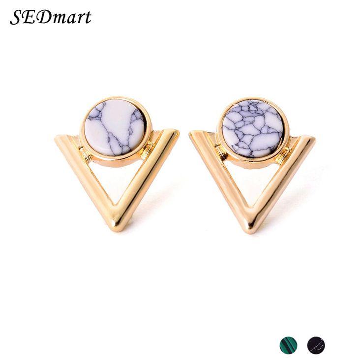 SEDmart White Turquoise Triangle Point Arrow Marbled Howlite Stud Earrings Women Malachite Natural Stone V Shape Stud Earrings