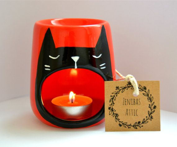 Halloween Black Cat Candle Holder - Oil Burner - Wax Melter - Yawning Cat - Black and Red - Witches Cat - Halloween Decoration - Pagan