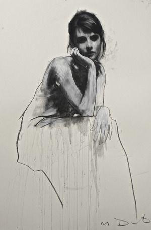 Hannah seated, pastel & collage 32ins x 46ins. | Mark Demsteader | mark demsteader