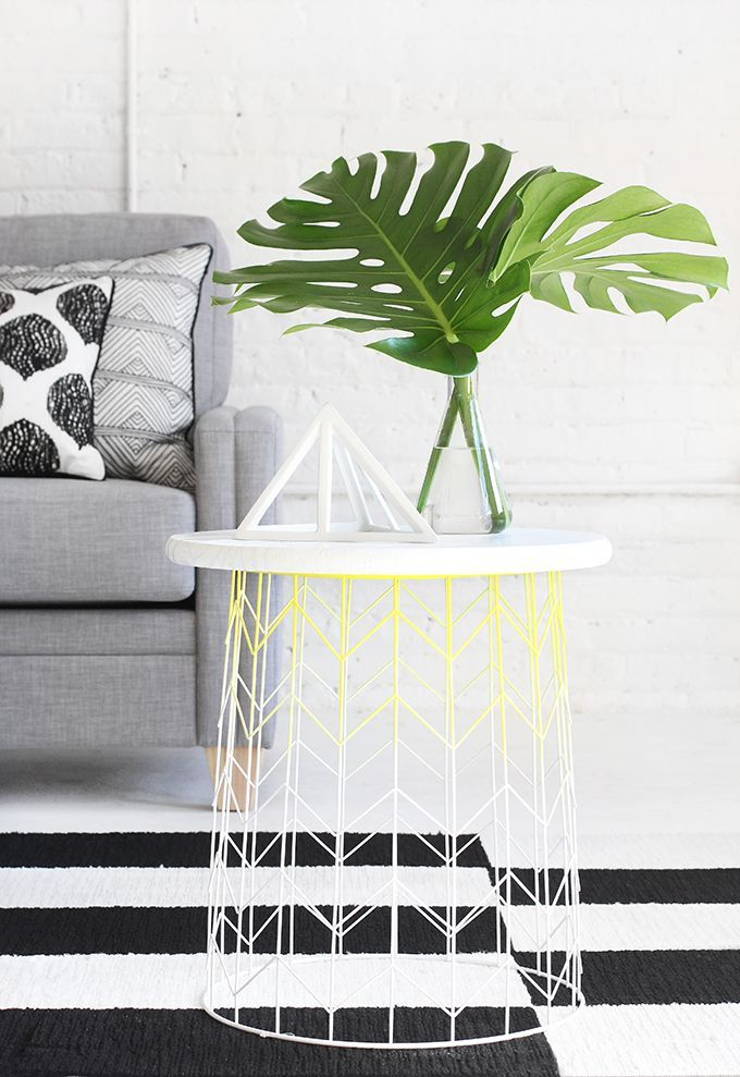 Lovely Einfache Dekoration Und Mobel Qualy Log Squirrel Blumentopf 4 #13: DIY - Wire Basket Table - Design - Color - White - I SPY - Decoration -  Idea - Inspiration - Living Room - Bedside Table - Bed Room - Refine
