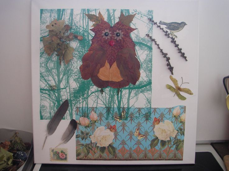Owlpainting made with papernapkin decoupage, dried leafs for owl and a bit accesories