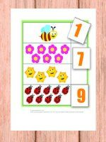 We'll be counting from 1 to 10 in this one with the help of bees, butterflies, ladybugs, spring weather and flowers!  Print out all pages. Leave the pages with images as they are (you can cut out the green frame if you want) and place them in file folders. Cut out numbers. Have the kids place the correct number in the empty field next to the images.   This game can also be easily used as a worksheet (if you laminate it you can use it again and again).