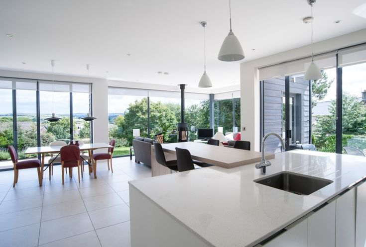 Rais Viva 120 Contemporary to an impressively light and simple kitchen family room.