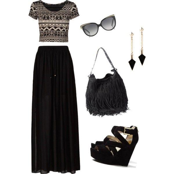 Aztec print top and black maxi skirt