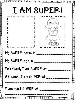 A super hero twist on the getting to know you letter!  I always send an info sheet with my student letter at the beginning of the year.  The kids attach or draw a picture of themselves in the left box and then turn themselves into a super hero in the right box.  They also answer the SUPER statements to tell me a little more about themselves.  The super hero art is copyrighted by Scrappin Doodles.  The border is from Mixed Up Doodles and the font is from Jennifer Jones.   Hope you can use it!