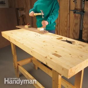 Build a simple, strong workbench made entirely from 2x4s. It's inexpensive (less than $100) and takes only about four hours to build.