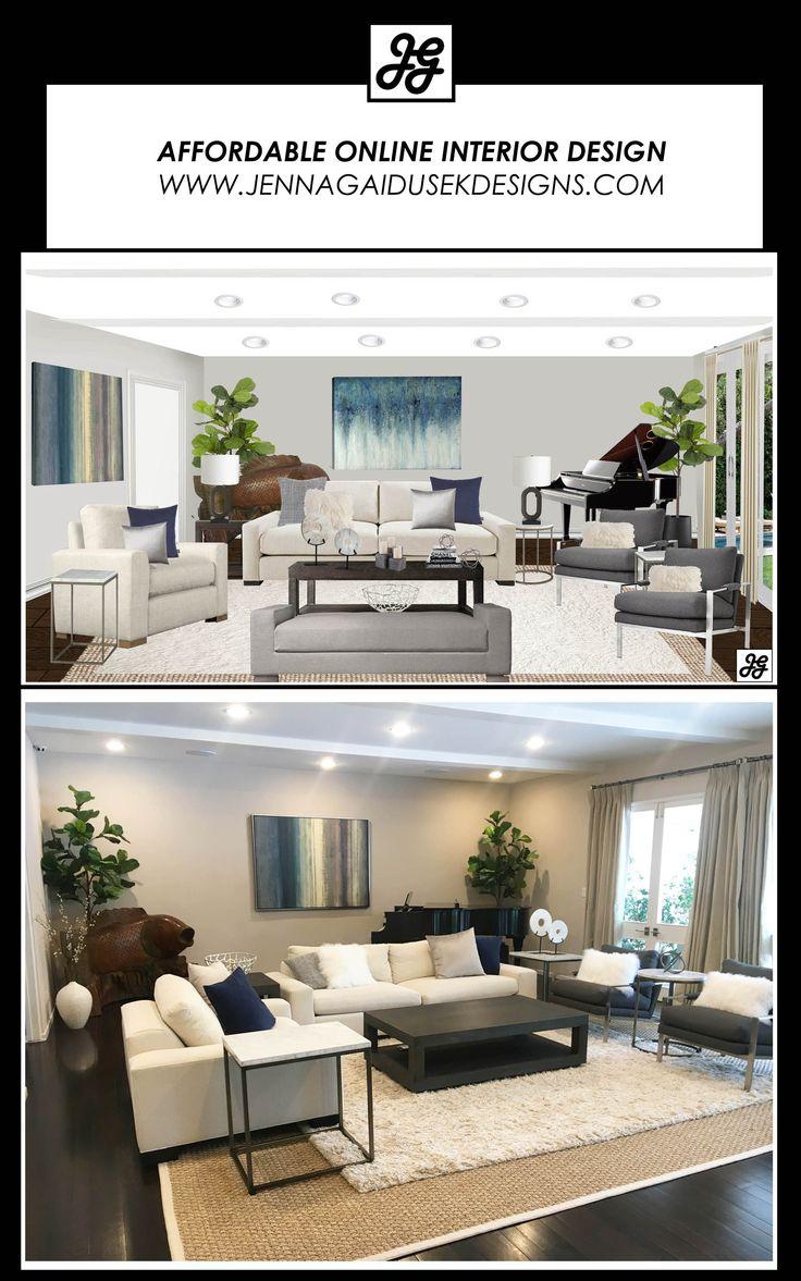 Affordable Online Interior Design Before And After Living Room Pop Of Color Neutral