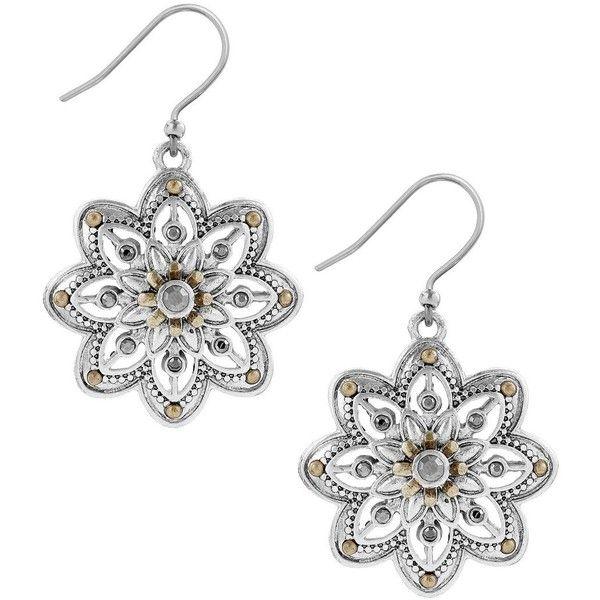 Lucky Brand Flower Drop Earrings (185 DKK) ❤ liked on Polyvore featuring jewelry, earrings, mixed metal, flower jewelry, drop earrings, lucky brand jewellery, lucky brand earrings and lucky brand jewelry