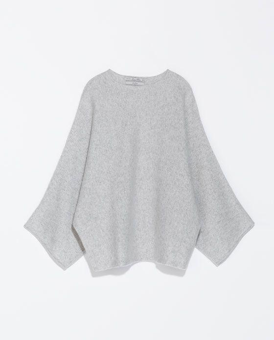 Poncho cachemire Zara Gris cashmere pull oversize Taille unique M