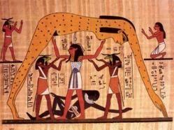 """Nut, """"La Grande que parió a los dioses"""", es la diosa del cielo, creadora del universo y los astros, según la mitología egipcia. Se la solía representar como una mujer desnuda, con el cuerpo arqueado a modo de bóveda celeste, revestida de estrellas. Algunas veces como una vaca (Mehet-Urt) o sobre su marido Geb (la Tierra) y su padre Shu (el aire) intentando separarlos (representación gráfica del mito). También se representaba como una mujer que lleva en la cabeza un jarro de agua. Sus…"""