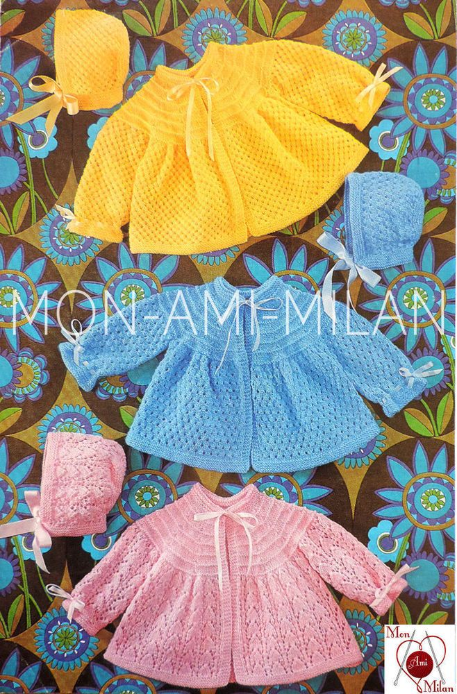 VTG Knitting Pattern • BABIES COATS & BONNETS 3 DESIGNS • PREM BABY REBORN DOLL