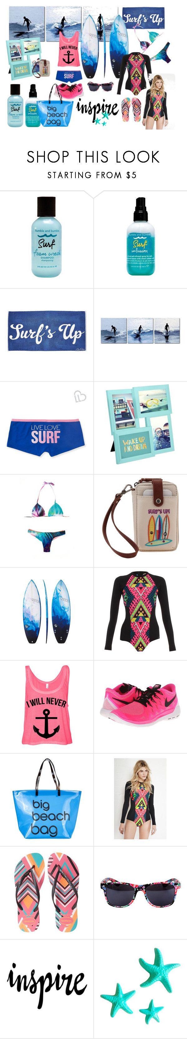 Surf & Turf by iris234 on Polyvore featuring Mara Hoffman, Aéropostale, NIKE, Havaianas, SPURR, The Sak, Bumble and bumble, Umbra and Dot & Bo