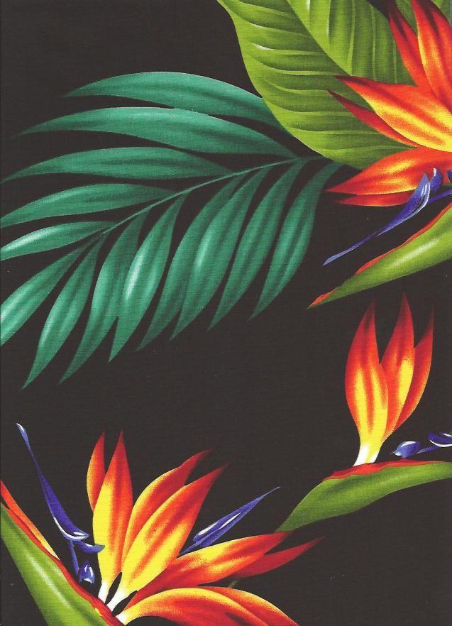 Tropical Hawaiian Bird of Paradise flowers and leafy palm fronds on a  cotton poplin apparel fabric. More at BarkclothHawaii.com