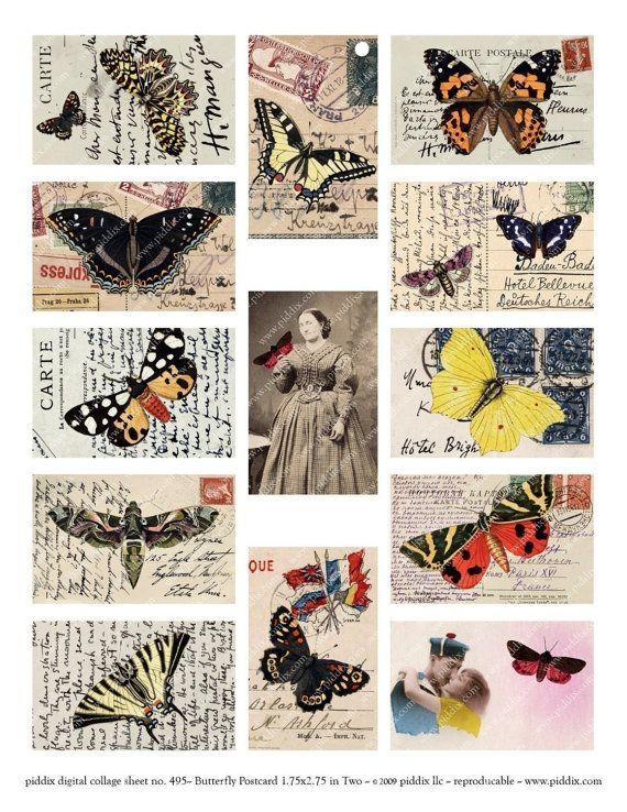 Butterflies on Vintage Postcards in 1.75x2.75 inches Two von piddix