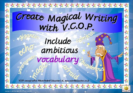 Great place to find VCOP resources.   Vocabulary, Connectives, Openers and Punctuation