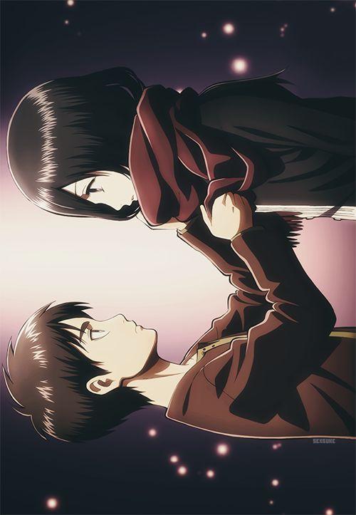 Eren Jager and Mikasa Ackerman ErenxMikasa Shingeki no Kyojin #eren#mikasa#fanart