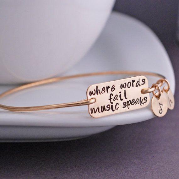 Music Speaks Bracelet, Music Lover Jewelry, Gold Bangle Bracelet, Inspirational Bracelet from georgiedesigns