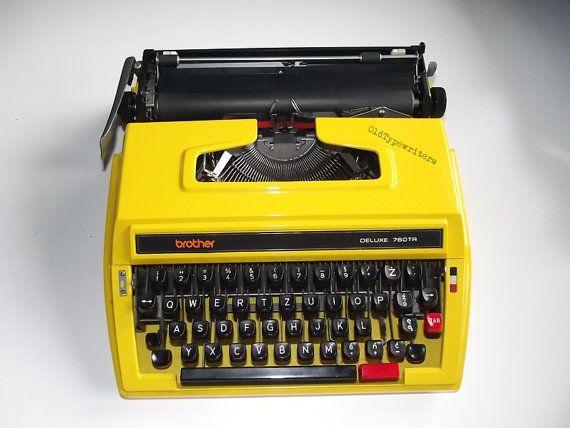 Vintage Unique Yellow Manual Typewriter Brother by OldTypewriters