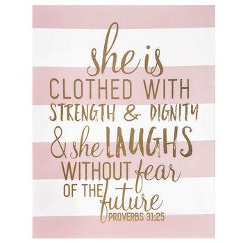 Proverbs 31:25 Striped Canvas Wall Decor