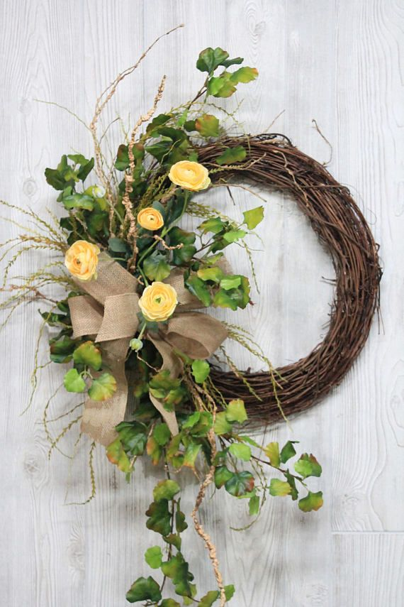 Spring Wreath, Summer Wreath, Summer Wreath for Front Door, Front Door Wreath, Farmhouse Wreath, Greenery Wreath, Country Door Wreath Farmhouse/Country Wreath, so beautiful in a mixture of greens and yellows! This one of a kind custom designed front door wreath was carefully
