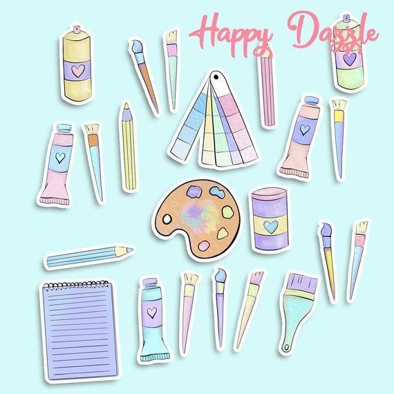Cute Art Supplies Sticker Set Pastel Pencils Brush Spray Paint