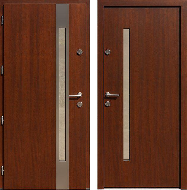 Drzwi wejściowe z aplikacjamii ze stali nierdzewnej inox wzór 454,2-454,12 orzech