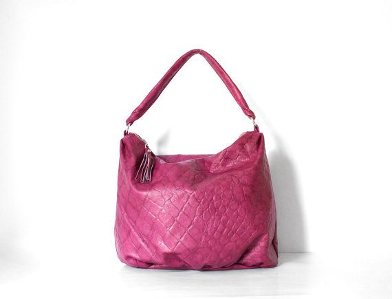 Violet Leather Slouch Bag / Large Shoulder Bag / by morelle, $195.00 Wow, look at that pink!