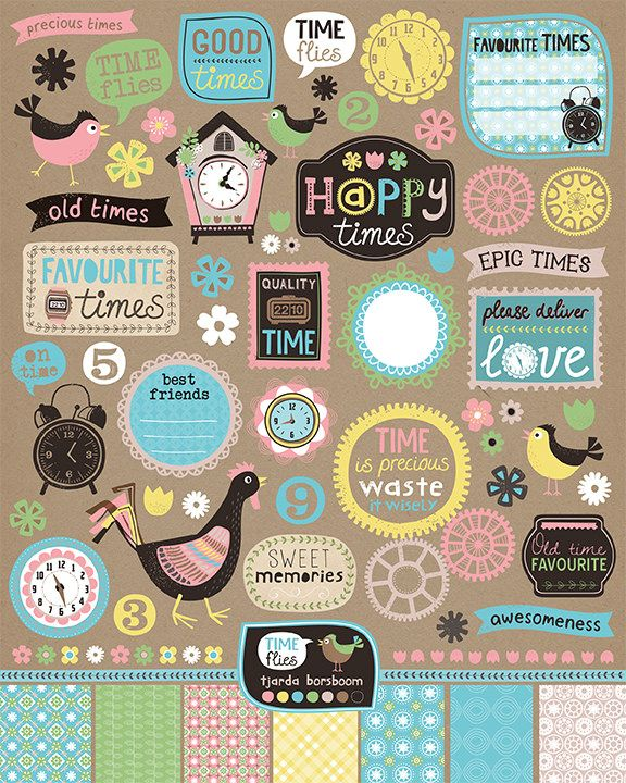 Scrapbook pages - time flies - I made this for MATS B, Lilla Rogers' online course.