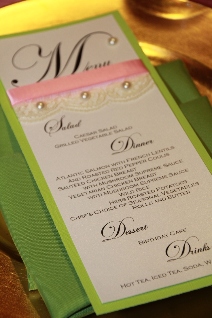 pink and green menu card with lace and pearls for 40th birthday party