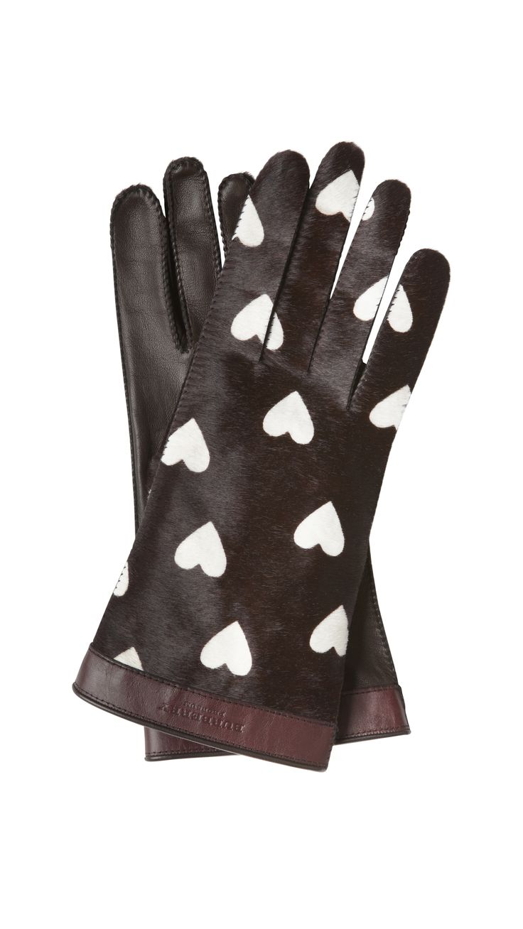 Womens leather smartphone gloves - Hearts Gloves