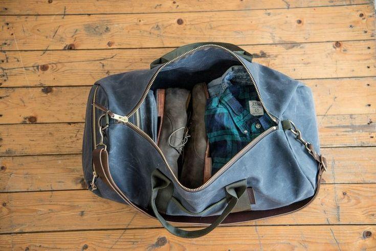 Waxed Canvas Duffel, Duffle Bag, Duffel Bag, Handmade Duffel Bag, Weekender Duffel, Waxed Canvas and Leather Duffel, Horween Leather Strap, American Made Duffel Bag, Mens Overnight Bag,