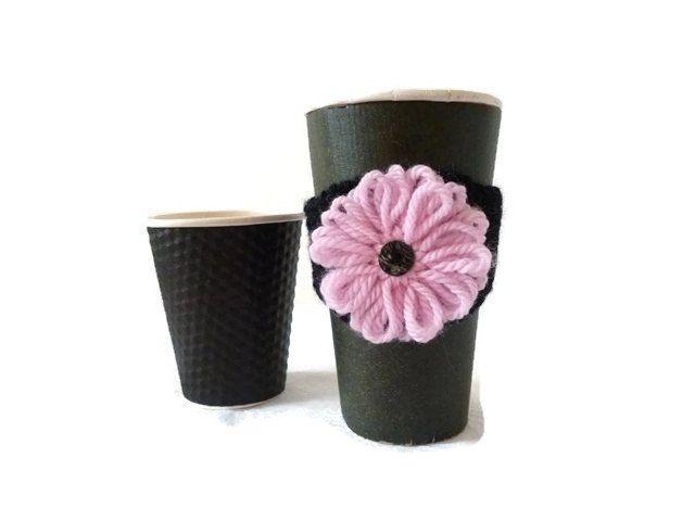Knit Coffee Cozy, Eco Cup Sleeve, Reusable Coffee Cozy, Coffee Sleeve