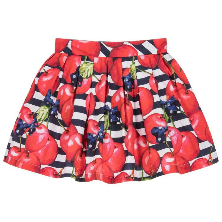 This charming cotton skirt by Balloon Chic has a fun red cherry print with a navy blue and white stripe background. Fully lined and with a side zip fastening, it has an adjustable waist to ensure a perfect fit.