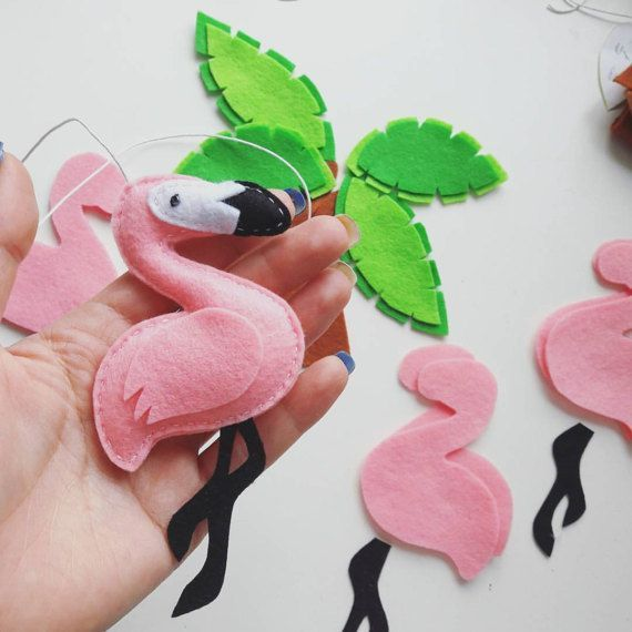 Flamingo miniatura fieltro adornos ideas por MiracleInspiration #craftideas