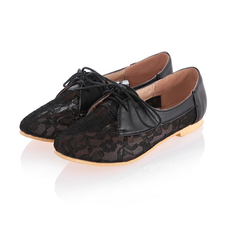 Dresswe.com SUPPLIES Amazing Black Flat Heel Lace Upper Women Shoes Flats
