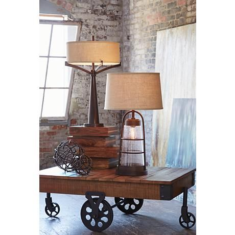 Table Lamp With Night Light Base: Industrial Lantern Table Lamp with Night Light,Lighting