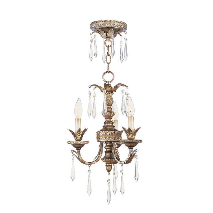 Livex Lighting 8893-65 La Bella Mini 3 Light Mini Chandelier in Vintage Gold Leaf